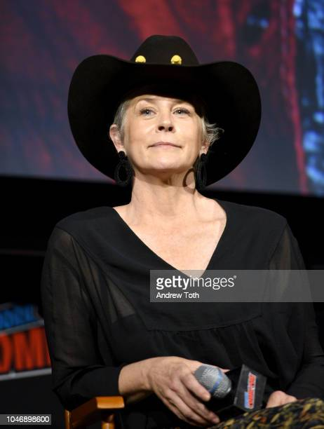 Melissa McBride speaks onstage during The Walking Dead panel during New York Comic Con at The Hulu Theater at Madison Square Garden on October 6,...