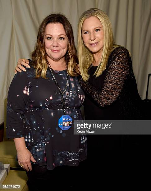 Melissa McCarthy and Barbra Streisand pose backstage during the tour opener for 'Barbra The Music The Mem'ries The Magic' at Staples Center on August...