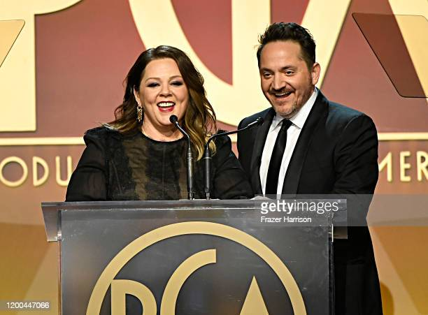 Melissa McCarthy and Ben Falcone speak onstage during the 31st Annual Producers Guild Awards at Hollywood Palladium on January 18, 2020 in Los...