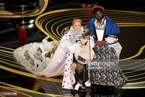 Melissa McCarthy and Brian Tyree Henry speak onstage during the 91st Annual Academy Awards at Dolby Theatre on February 24, 2019 in Hollywood,...