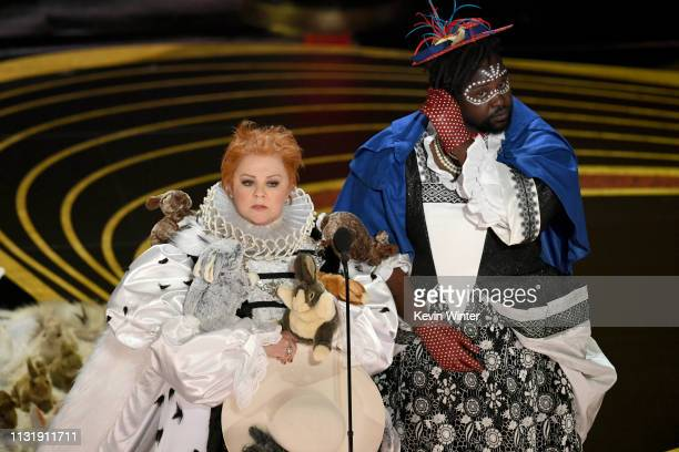 Melissa McCarthy and Brian Tyree Henry speak onstage during the 91st Annual Academy Awards at Dolby Theatre on February 24 2019 in Hollywood...