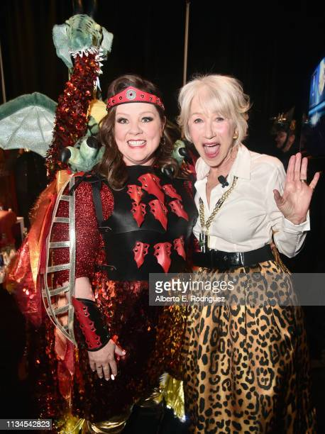 "Melissa McCarthy and Helen Mirren pose backstage at CinemaCon 2019 Warner Bros Pictures Invites You to ""The Big Picture"" an Exclusive Presentation of..."