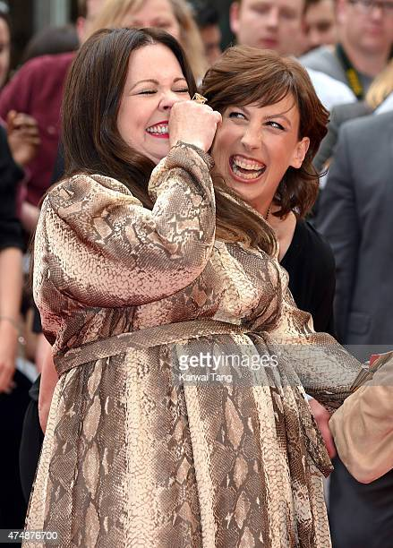 Melissa McCarthy and Miranda Hart attend the UK Premiere of Spy at Odeon Leicester Square on May 27 2015 in London England