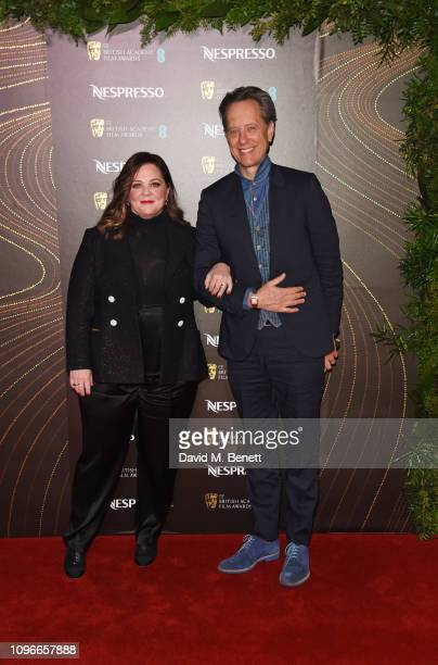 Melissa McCarthy and Richard E Grant attend the Nespresso British Academy Film Awards nominees party at Kensington Palace on February 9 2019 in...