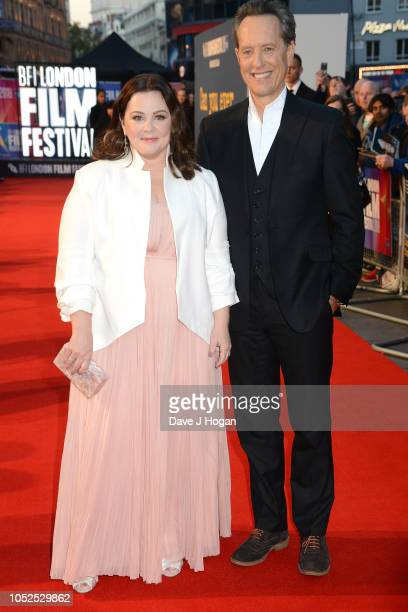 Melissa McCarthy and Richard E Grant attend the UK Premiere of Can You Ever Forgive Me Headline gala during the 62nd BFI London Film Festival on...