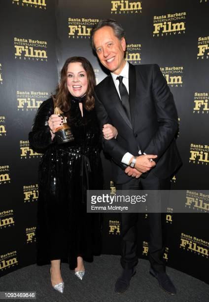 Melissa McCarthy and Richard E Grant pose backstage at the Montecito Award honoring Melissa McCarthy during the 34th Santa Barbara International Film...