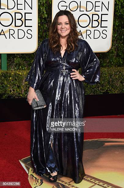 Melissa McCarthy arrives at the 73nd annual Golden Globe Awards January 10 at the Beverly Hilton Hotel in Beverly Hills California AFP PHOTO /...