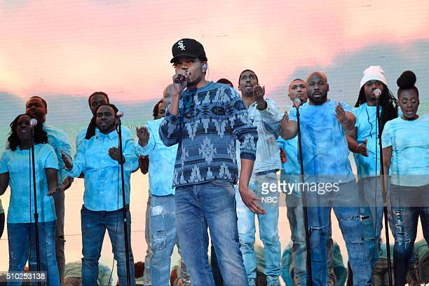 LIVE 'Melissa McCarthy' Episode 1696 Pictured Chance The Rapper performs with musical guest Kanye West on February 13 2016
