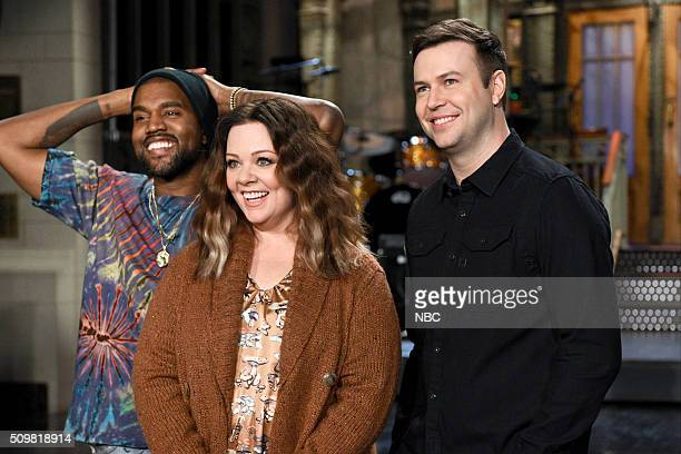 LIVE 'Melissa McCarthy' Episode 1696 Pictured Kanye West Melissa McCarthy and Taran Killam on February 11 2016
