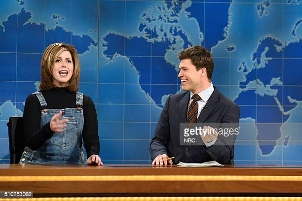 LIVE Melissa McCarthy Episode 1696 Pictured Vanessa Bayer as Rachel from Friends and Colin Jost during Weekend Update on February 13 2016