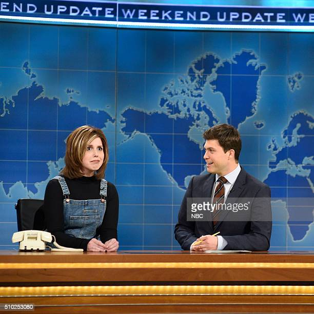 LIVE 'Melissa McCarthy' Episode 1696 Pictured Vanessa Bayer as Rachel from Friends and Colin Jost during Weekend Update on February 13 2016