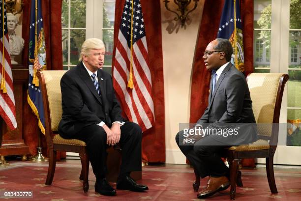 LIVE Melissa McCarthy Episode 1724 Pictured Alec Baldwin as President Donald Trump Michael Che as Journalist Lester Holt during Lester Holt Cold Open...