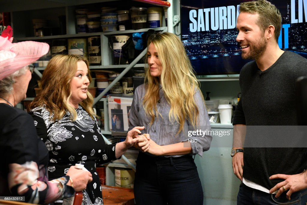 LIVE -- 'Melissa McCarthy' Episode 1724 -- Pictured: (l-r) Audience member Joan, host Melissa McCarthy, Blake Lively, Ryan Reynolds during the opening monologue in Studio 8H on May 13, 2017 --