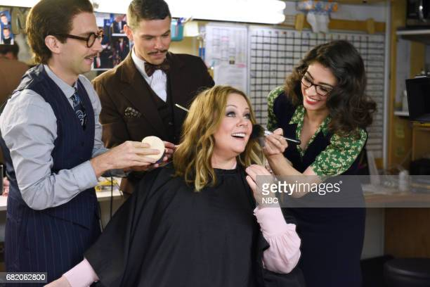 LIVE 'Melissa McCarthy' Episode 1724 Pictured Kyle Mooney Mikey Day Melissa McCarthy and Melissa Villaseñor pose for promos backstage on May 9 2017