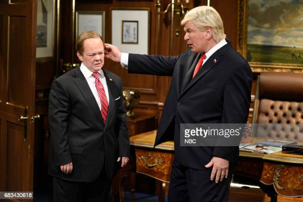 LIVE Melissa McCarthy Episode 1724 Pictured Melissa McCarthy as White House Press Secretary Sean Spicer Alec Baldwin as President Donald Trump during...