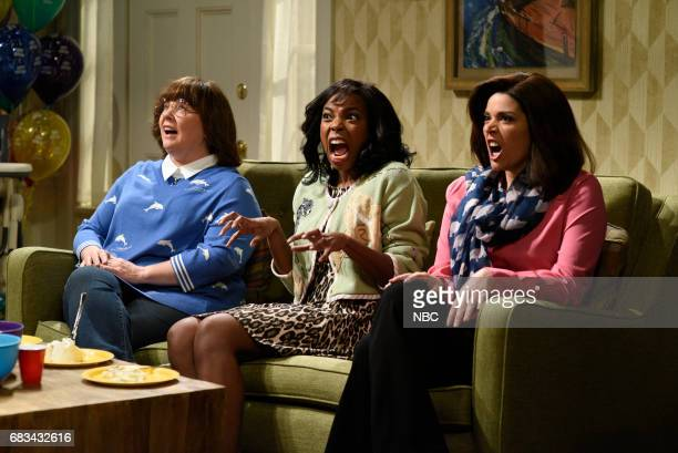 LIVE 'Melissa McCarthy' Episode 1724 Pictured Melissa McCarthy Sasheer Zamata Cecily Strong during 'First Birthday' in Studio 8H on May 13 2017