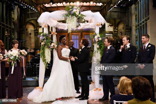 LIVE Melissa McCarthy Episode 1724 Pictured Melissa Villaseñor as a bridesmaid Leslie Jones Kyle Mooney Alex Moffat and Mikey Day as groomsmen in...