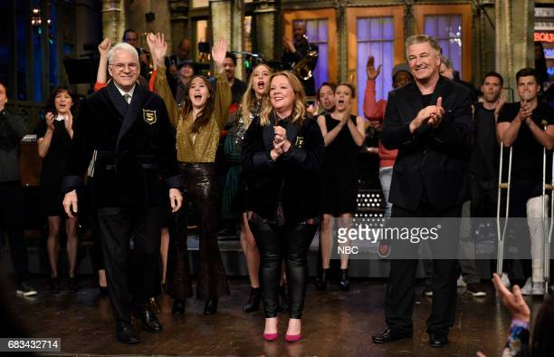 LIVE 'Melissa McCarthy' Episode 1724 Pictured Steve Martin Melissa McCarthy Alec Baldwin during 'Goodnights Credits' in Studio 8H on May 13 2017