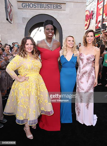 "Melissa McCarthy, Leslie Jones, Kate McKinnon and Kristen Wiig attend the premiere of Sony Pictures' ""Ghostbusters"" at TCL Chinese Theatre on July 9,..."