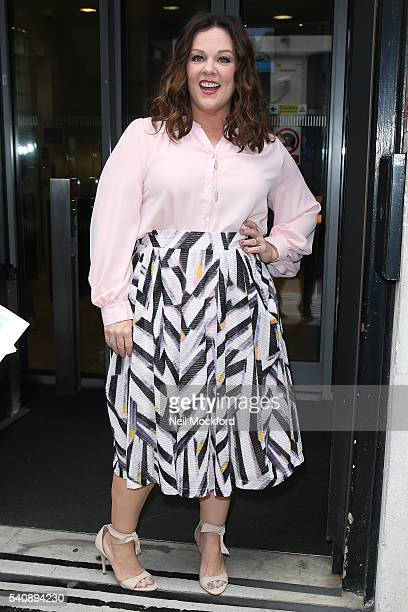 Melissa McCarthy seen at BBC Radio 2 promoting the Ghostbusters movie on June 17 2016 in London England