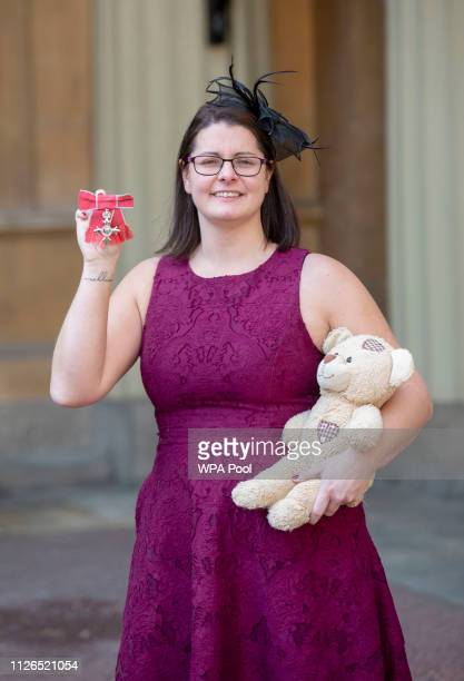 Melissa Mead with her MBE awarded for services to to raising awareness of Sepsis following an investiture ceremony at Buckingham Palace on February...