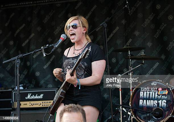 Melissa Menago of June Divided performs onstage during the 2012 Vans Warped Tour at the Riverbend Music Center on July 31 2012 in Cincinnati Ohio