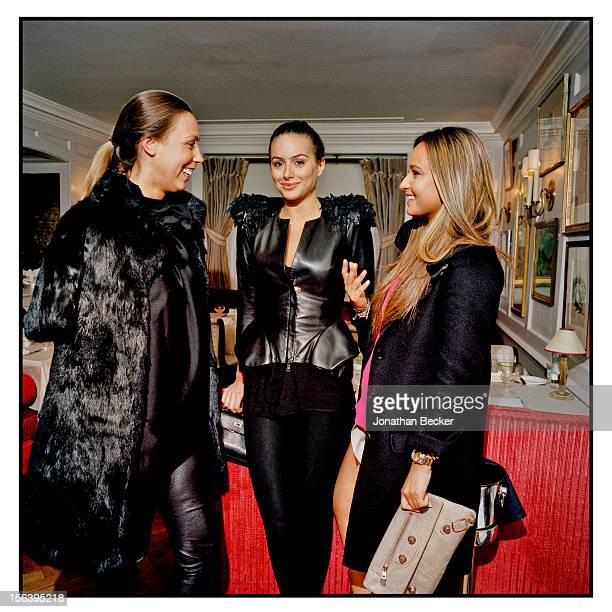 Melissa Mills, Saskia Boxford, and Leticia Hachuel are photographed at 5 Hertford Street, which is home to the nightclub Loulou's for Vanity Fair...
