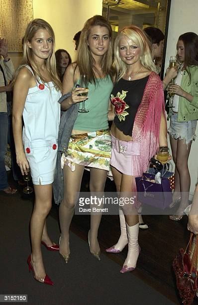 Melissa Montgomery and Hannah Standing attend the Frost French Perrier Jouet Lingerie Launch at Liberty on June 25 2003 in London