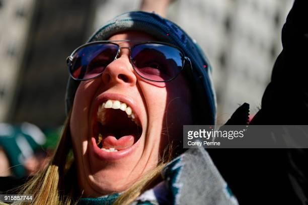 Melissa Mosczczynski of Philadelphia Pennsylvania yells during parade festivities on February 8 2018 in Philadelphia Pennsylvania The city celebrated...