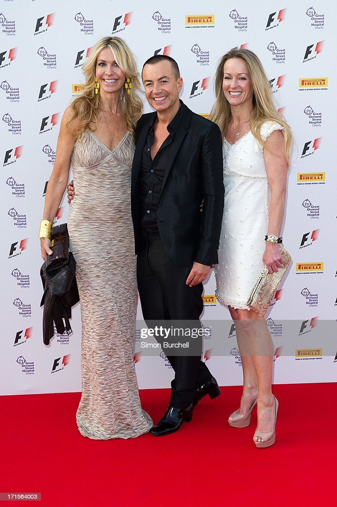 Melissa Obadash, Julien MacDonald and Alison Henry attends The F1 Party at Old Billingsgate Market on June 26, 2013 in London, England.