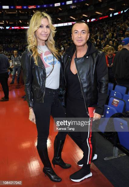 Melissa Odabash and Julien Macdonald attend the Washington Wizards vs New York Knicks game at The O2 Arena on January 17 2019 in London England
