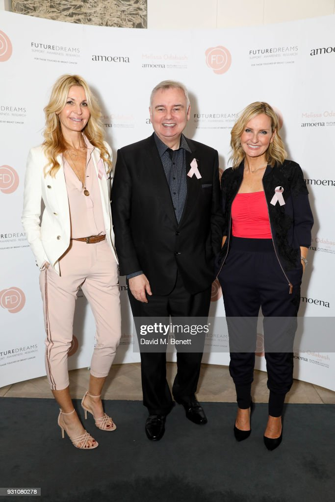 Melissa Odabash, Eamonn Holmes and Jacquie Beltrao attend an exclusive dinner hosted by Melissa Odabash, Amoena and Future Dreams to celebrate the launch of their 2018 pocketed swimwear collection at Grace Belgravia on March 12, 2018 in London, England.