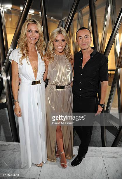 Melissa Odabash Mollie King and Julien Macdonald attend the Odabash Macdonald Resort 2014 collection launch at ME Hotel on June 25 2013 in London...