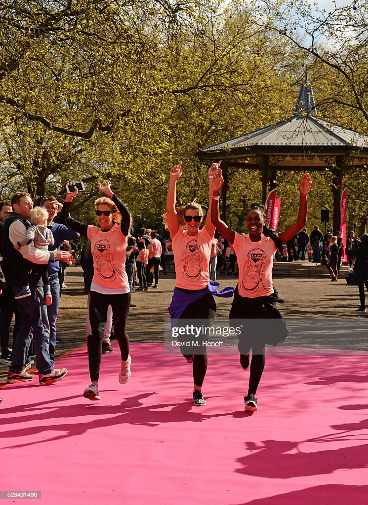 Melissa Odabash, Vogue Williams and AJ Odudu attend the Lady Garden 5K Fun Run in aid of Silent No More Gynaecological Cancer Fund in Battersea Park on April 23, 2016 in London, England.