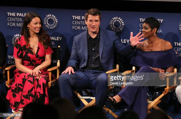 Melissa O'Neil Nathan Fillion and Afton Williamson from 'The Rookie' appear on stage at The Paley Center of Media's 2018 PaleyFest Fall TV Previews...