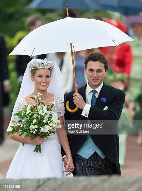 Melissa Percy and Thomas van Straubenzee after their wedding at Alnwick Castle on June 22 2013 in Alnwick England