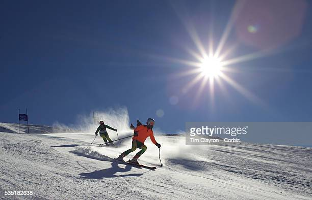 Melissa Perrine Australia with guide Andrew Bor in action during the Women Giant Slalom Visually Impaired competition at Coronet Peak during the...