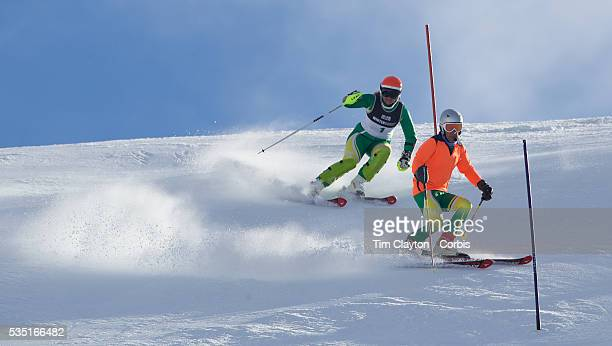 Melissa Perrine Australia with her guide Andrew Bor in action during the Women's Slalom Visually Impaired Adaptive Slalom competition at Coronet Peak...