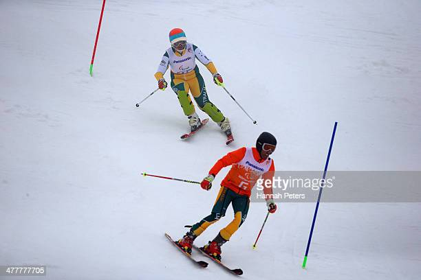 Melissa Perrine of Australia and her guide Andrew Bor competes in the Women's SC Slalom Run 1 Visually Impairedduring day four of Sochi 2014...