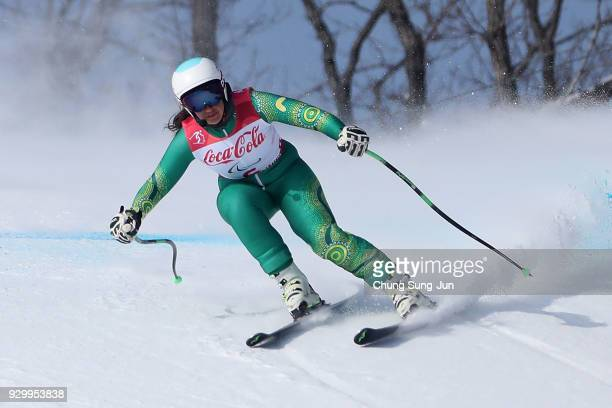 Melissa Perrine of Australia compete in the Alpine Skiing Women's Downhill Visually Impaired during day one of the PyeongChang 2018 Paralympic Games...