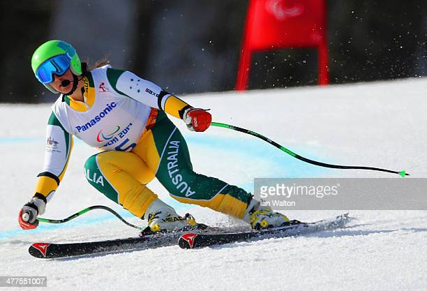 Melissa Perrine of Australia compete in the Women's SuperG Visually Impaired during day three of Sochi 2014 Paralympic Winter Games at Rosa Khutor...