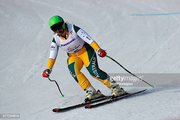 Melissa Perrine of Australia competes in the Women's Downhill Visually Impaired during day one of Sochi 2014 Paralympic Winter Games at Rosa Khutor...