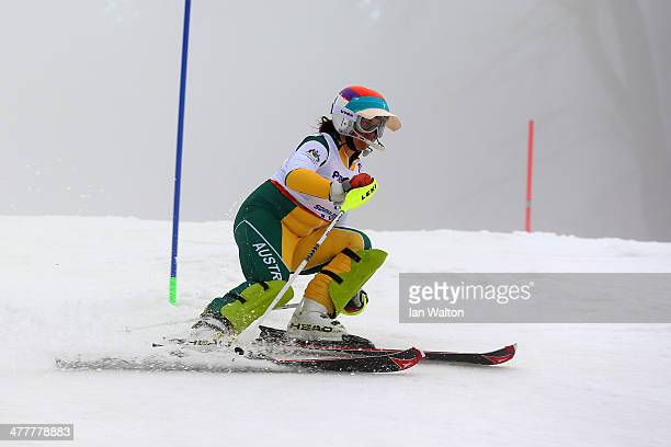 Melissa Perrine of Australia competes in the Women's SC Slalom Run 1 Visually Impairedduring day four of Sochi 2014 Paralympic Winter Games at Rosa...