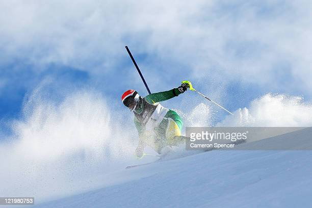 Melissa Perrine of Australia competes in the Womens Slalom Visually Impaired during day 13 of the Winter Games NZ at Coronet Peak on August 25 2011...