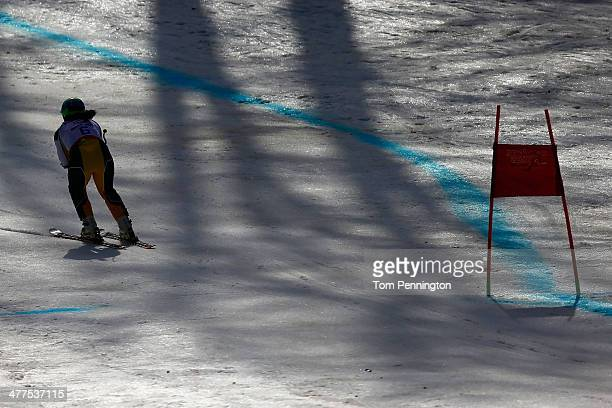 Melissa Perrine of Australia competes in the Women's SuperG Visually Impaired during day three of Sochi 2014 Paralympic Winter Games at Rosa Khutor...