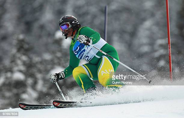 Melissa Perrine of Australia competes in the Women's Visually Impaired Slalom during Day 3 of the 2010 Vancouver Winter Paralympics at Whistler...