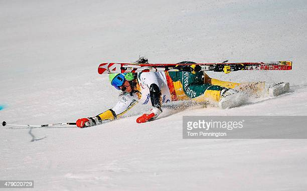 Melissa Perrine of Australia crashes in the Women's Giant Slalom Visually Impaired during day nine of the Sochi 2014 Paralympic Winter Games at Rosa...