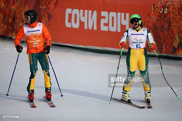 Melissa Perrine of Australia reacts after competing in the Women's Downhill Visually Impaired during day one of Sochi 2014 Paralympic Winter Games at...
