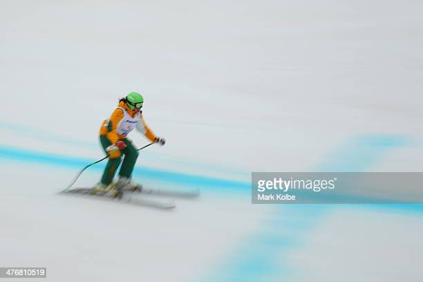 Melissa Perrine of Australia trains for women's Visually Impared Downhill Standing Ski event during a training session at Rosa Khutor Alpine Center...