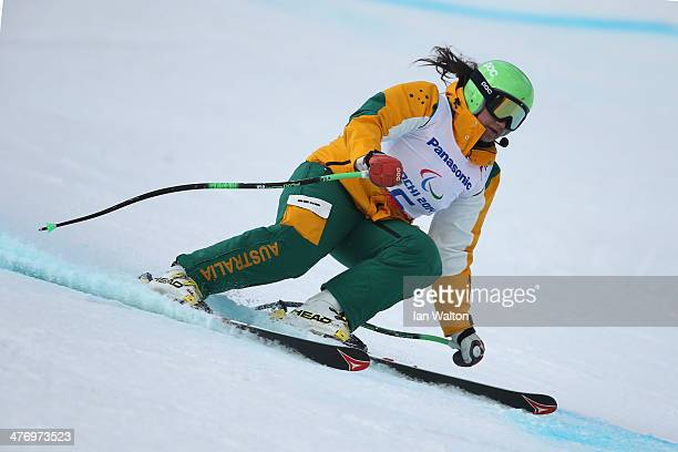 Melissa Perrine of Australia trains for women's Visually Impared Downhill Ski event during a training session at Rosa Khutor Alpine Center for the...